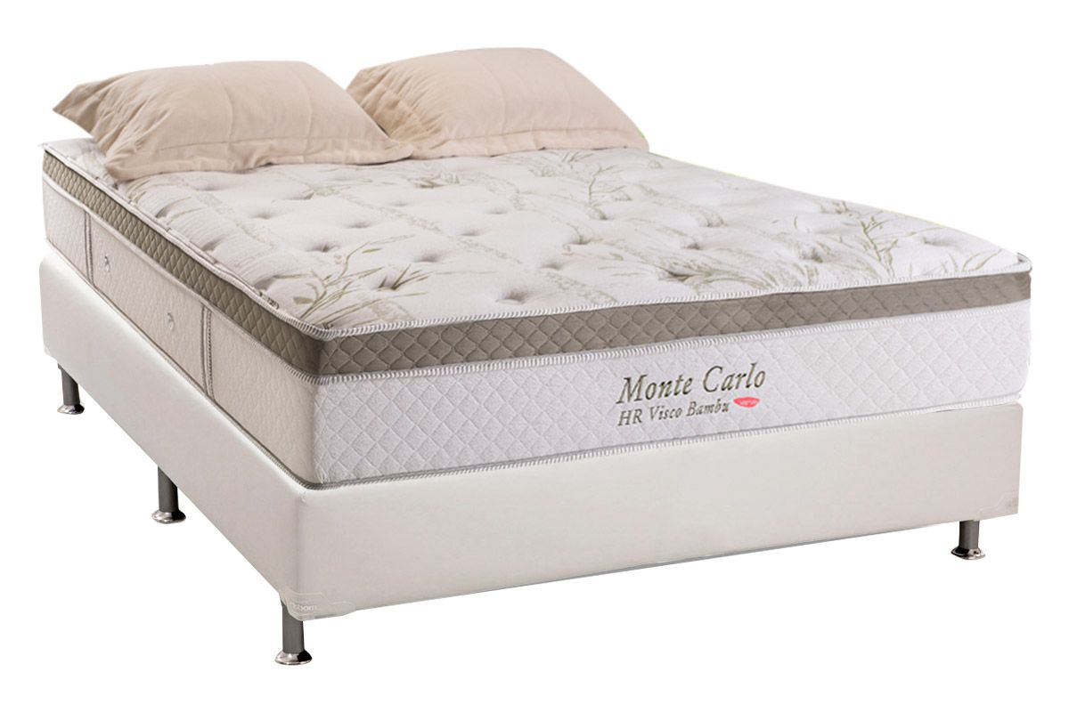 Conjunto Box: Colchão Herval Molas Pocket Monte Carlo Visco HR + Cama Courino Bianco