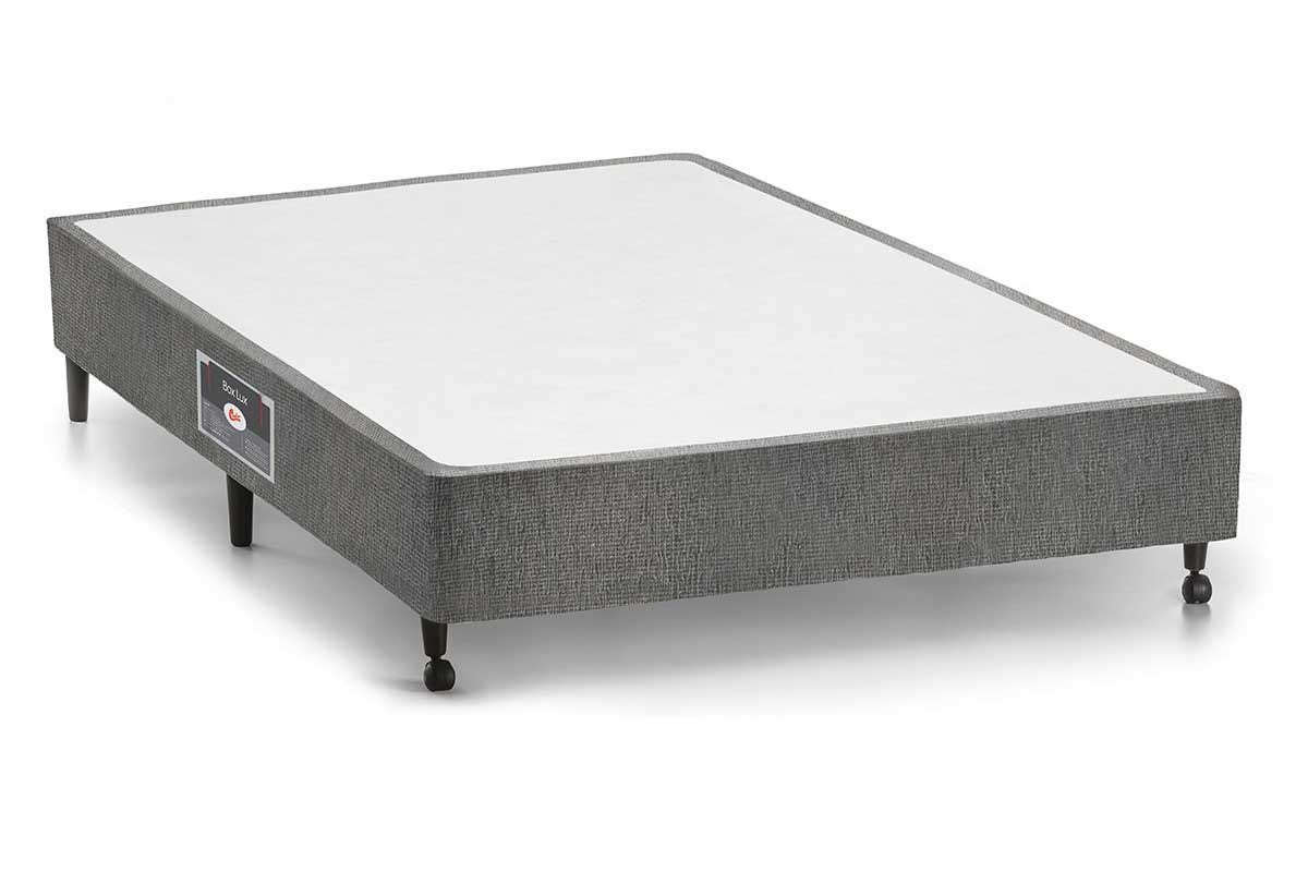 Cama Box Base Castor SI Gold Star Suede Cinza