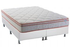 Conjunto Cama Box - Colchão Herval de Molas Pocket Red Master Euro Pillow (C1424) + Cama Box Universal Courino Branco