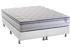 Conjunto Cama Box - Colchão Herval de Molas Pocket Blue Platinum Euro Pillow (C1426) + Cama Box Universal Courino Branco